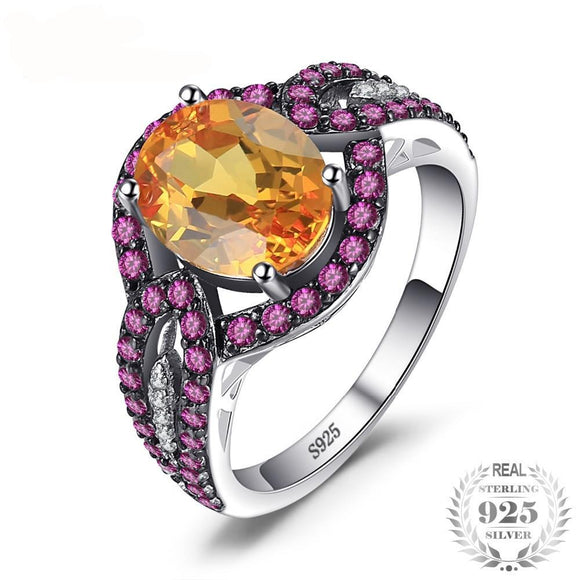 LA MIA CARA JEWELRY - Sparky-Elegant Orange Pink Sapphire Ring in S925 Sterling Silver.