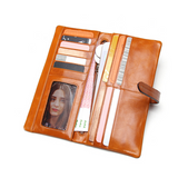 Kalina -  Colorful Genuine Oil wax Leather Long Wallet - LA MIA CARA JEWELRY - 8