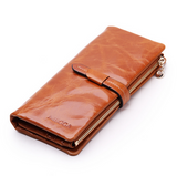 Kalina -  Colorful Genuine Oil wax Leather Long Wallet - LA MIA CARA JEWELRY - 6