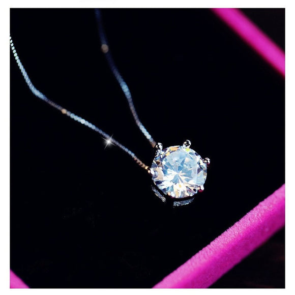 LA MIA CARA JEWELRY - SUSETTA - CLEAR ZIRCON PENDANT S925 SILVER NECKLACE