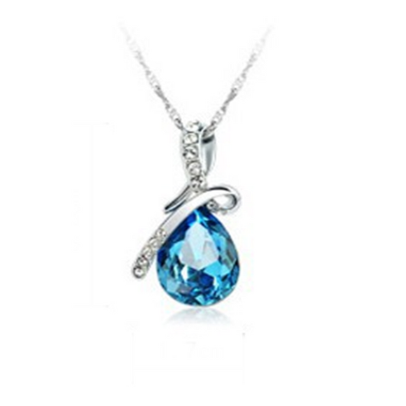 Alica - Swarovski Crystal Romantic Tear Drop Silver Necklace - LA MIA CARA JEWELRY - 2