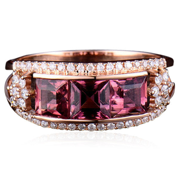 Statement Ring - La Princesse - Pink Tourmaline Diamond Rose Gold Ring - La Mia Cara Jewelry