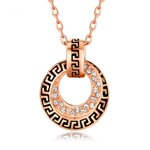 Laetitia - Swarovski Crystals Rose Gold Circle Necklace - LA MIA CARA JEWELRY