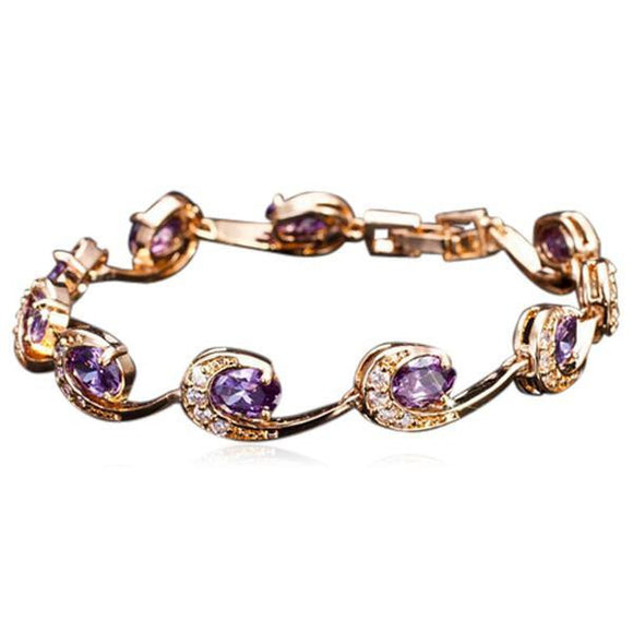La Mia Cara Jewelry - Purple Lambrini - Gold CZ Diamond Bracelet