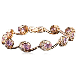 La Mia Cara Jewelry - Pink Lambrini - Gold CZ Diamond Bracelet