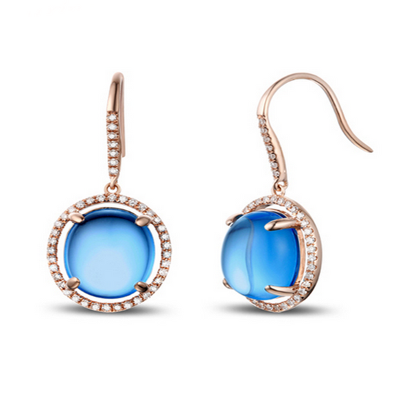 Laura -  Blue Topaz Cabochon Diamond Drop Earrings - LA MIA CARA JEWELRY