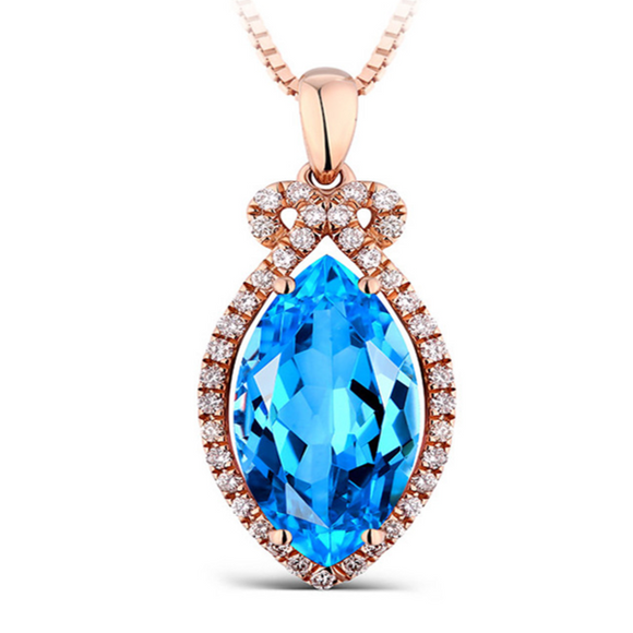 Laura - Blue Topaz Diamond Rose Gold Pendant - LA MIA CARA JEWELRY