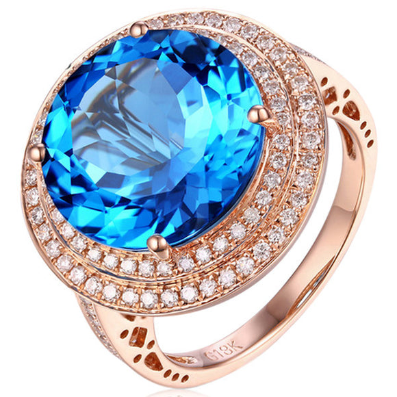 Cocktail Ring - Laura - Blue Topaz Diamond Rose Gold Ring- La Mia Cara Jewelry