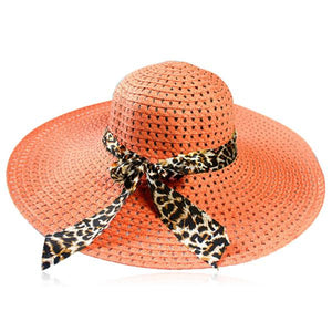 Leopardo Cappelli Estate- 6 Candy Color Sun Straw Hat with Leopard Ribbon - LA MIA CARA JEWELRY - 1