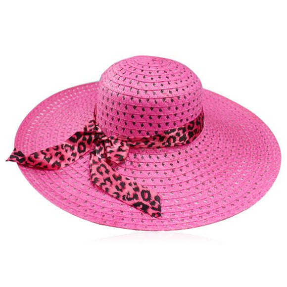Leopardo Cappelli Estate- 6 Candy Color Sun Straw Hat with Leopard Ribbon - LA MIA CARA JEWELRY - 4