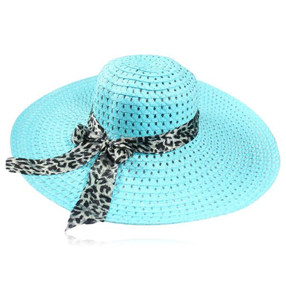 Leopardo Cappelli Estate- 6 Candy Color Sun Straw Hat with Leopard Ribbon - LA MIA CARA JEWELRY - 6