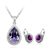 Lia - 6 Colors Swarovski Crystal Silver Pendants Necklace & Earrings - LA MIA CARA JEWELRY - 2