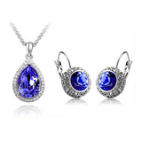 Lia - 6 Colors Swarovski Crystal Silver Pendants Necklace & Earrings - LA MIA CARA JEWELRY - 3