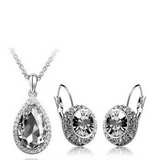 Lia - 6 Colors Swarovski Crystal Silver Pendants Necklace & Earrings - LA MIA CARA JEWELRY - 4