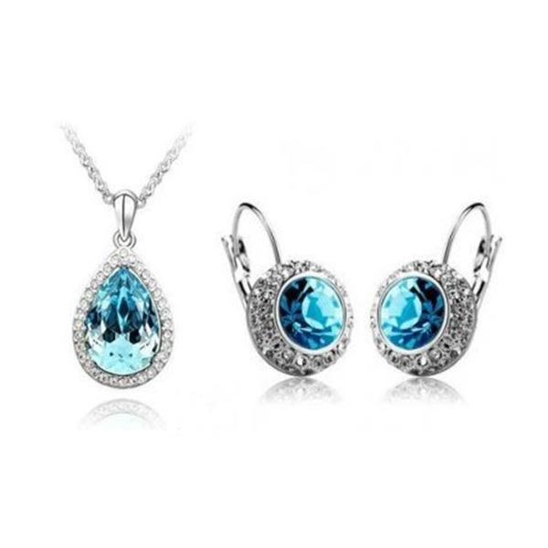 Lia - 6 Colors Swarovski Crystal Silver Pendants Necklace & Earrings - LA MIA CARA JEWELRY - 5