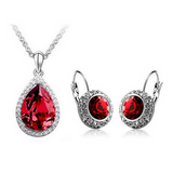 Lia - 6 Colors Swarovski Crystal Silver Pendants Necklace & Earrings - LA MIA CARA JEWELRY - 6