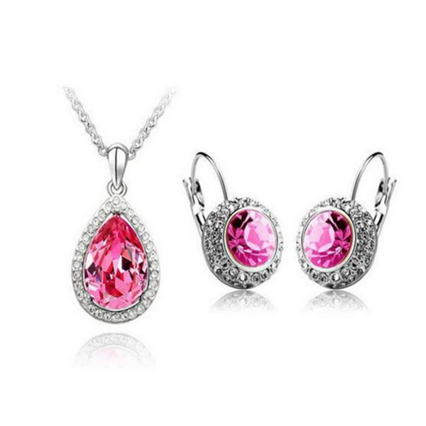 Lia - 6 Colors Swarovski Crystal Silver Pendants Necklace & Earrings - LA MIA CARA JEWELRY - 1