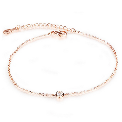 Libertà - 2 Pieces of Crystal Rose Gold Anklets - LA MIA CARA JEWELRY