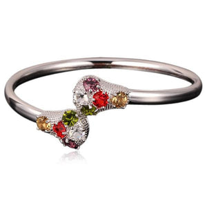 La Mia Cara Jewelry -Loretta - Platinum Crystal Bangle Bracelet