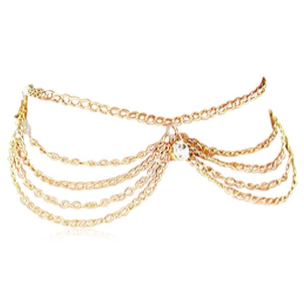Luci - Crystal Gold Sandy Beach Tassel Charm Anklet - LA MIA CARA JEWELRY - 1