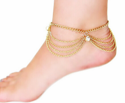 Luci - Crystal Gold Sandy Beach Tassel Charm Anklet - LA MIA CARA JEWELRY - 2