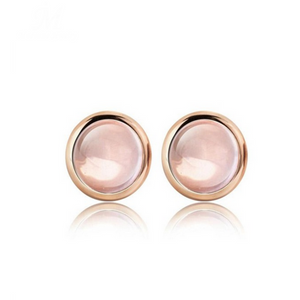 Madonna - Rose Quartz Rose Gold  Stud Earrings - LA MIA CARA JEWELRY - 1