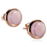 Madonna - Rose Quartz Rose Gold  Stud Earrings - LA MIA CARA JEWELRY - 2