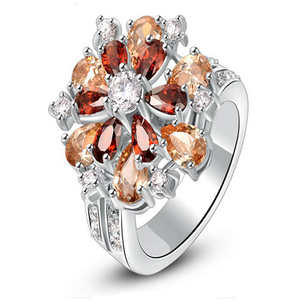 Cocktail Ring - Malina - Chocolate CZ Diamond White Gold Ring - La Mia Cara Jewelry