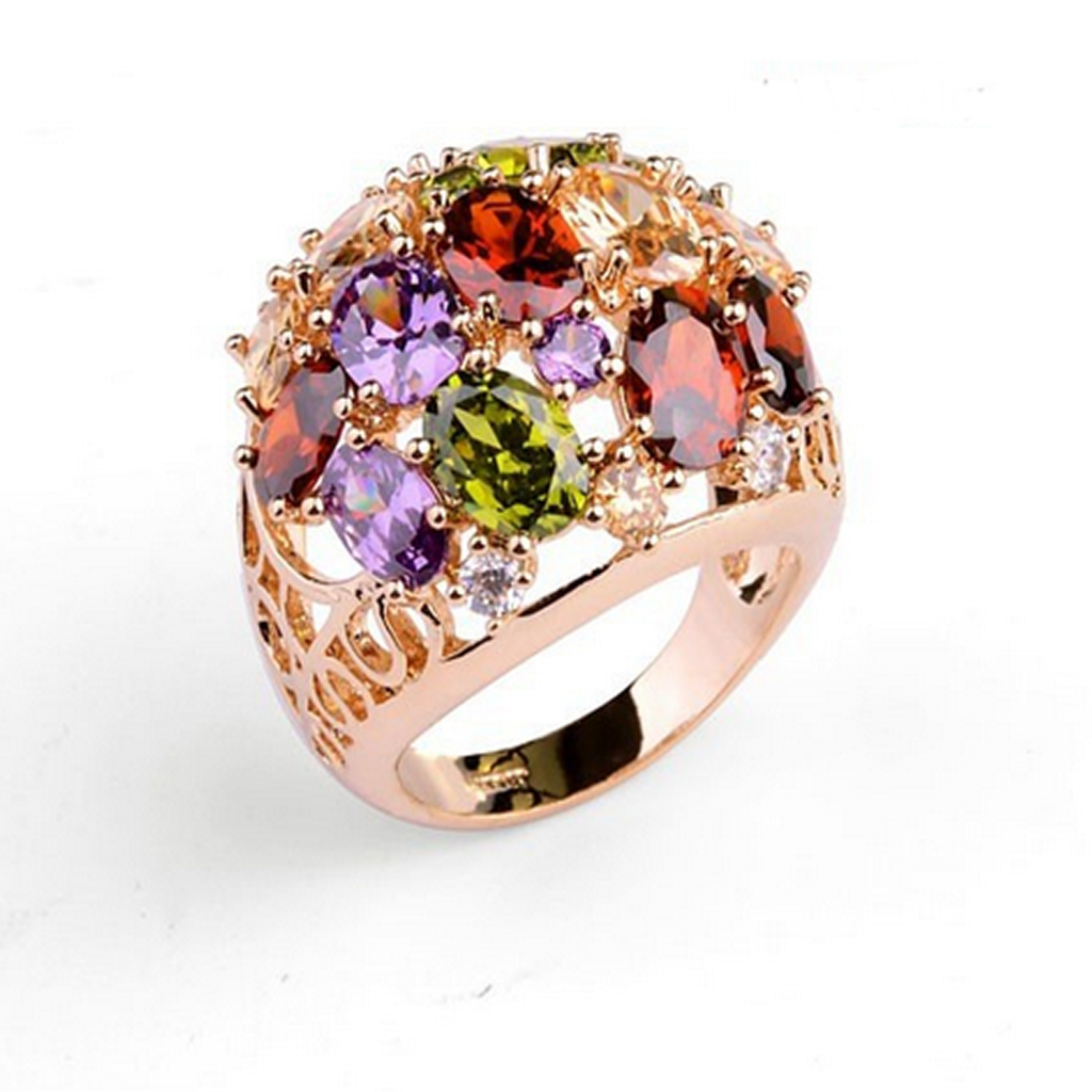 Cocktail Ring - Marceline - CZ Diamond Rose Gold Ring- La Mia Cara Jewelry