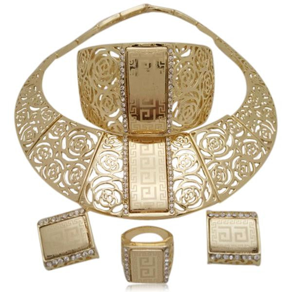 Nahid - Arabic Necklace & Earrings & Bracelet & Finger Ring Set - LA MIA CARA JEWELRY - 1