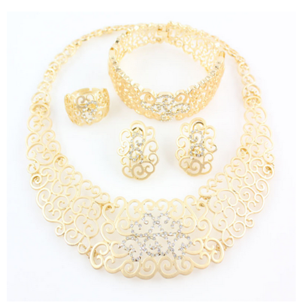 Naina - African Flower Crystal & Gold Necklace & Bracelet & Ring & Earrings Set - LA MIA CARA JEWELRY - 1