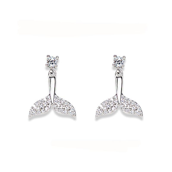 La Mia Cara Jewelry  - Rainbow Hope -Whale Tail CZ Diamond Stud Earrings