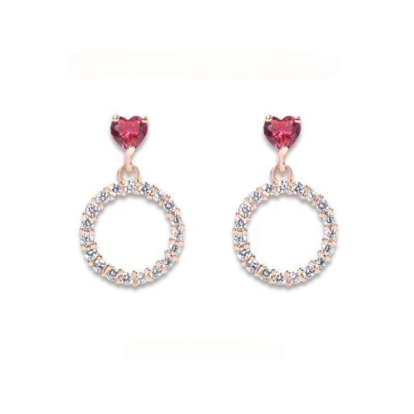 La Mia Cara Jewelry  - Rainbow Hope - Rose Gold CZ Diamond Stud Earrings