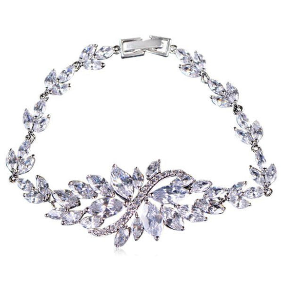 Ninfea -6 Multicolor Marquise Cut CZ Diamonds Platinum / Gold Crystal Flower Bracelet - LA MIA CARA JEWELRY - 3