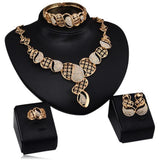 Niwana - Swarovski Crystals Gold Necklace & Earrings & Ring & Bangle Set - LA MIA CARA JEWELRY - 1