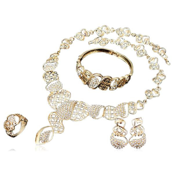 Niwana - Swarovski Crystals Gold Necklace & Earrings & Ring & Bangle Set - LA MIA CARA JEWELRY - 2