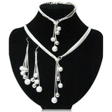 Noana - Crystal & Sterling Silver Beads Necklace & Bracelet & Earrings Set - LA MIA CARA JEWELRY - 1