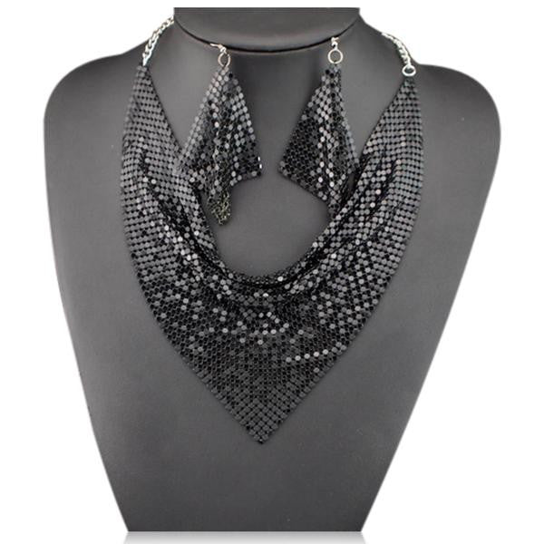 Noe - Shining Metal Choker Statement Necklace & Earrings Set - LA MIA CARA JEWELRY - 5