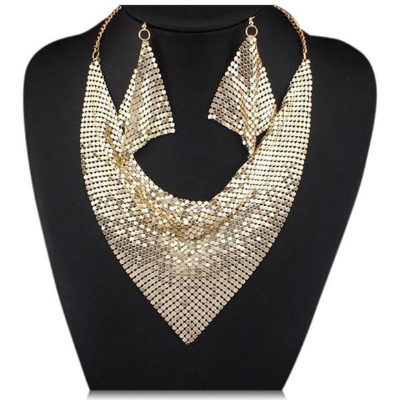 La Mia Cara Jewelry - Noe Gold - Shining Metal Choker Statement Necklace & Earrings Set