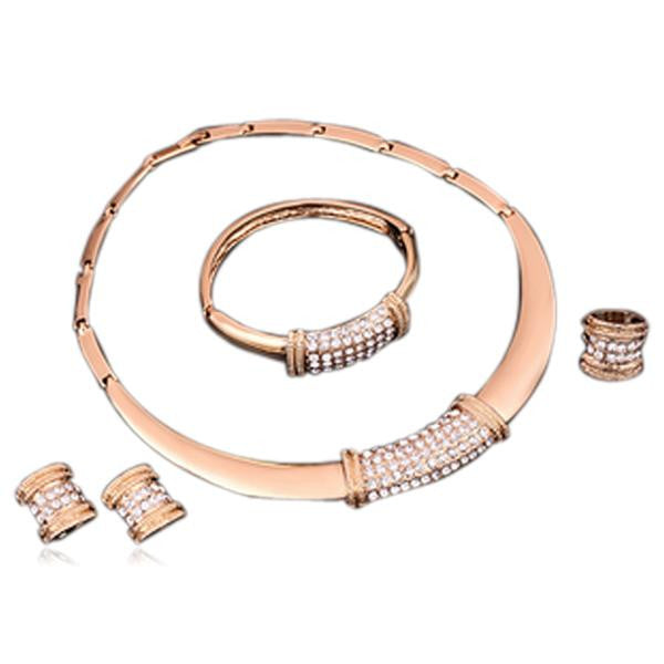 Noelia - Crystal Rose Gold Necklace & Earrings & Bracelet & Ring Set - LA MIA CARA JEWELRY - 3