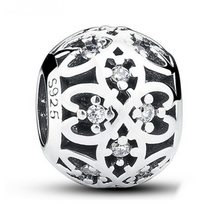 Olivia Charm - CZ Diamond Sterling Silver Bead Ball - LA MIA CARA JEWELRY