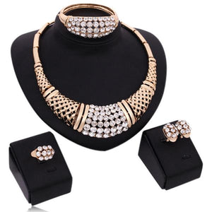 Ombretta - Sparkling Rhinestone Gold Necklace & Earrings & Bracelet & Finger Ring Set - LA MIA CARA JEWELRY - 3