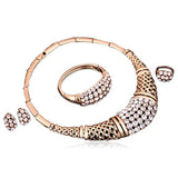 Ombretta - Sparkling Rhinestone Gold Necklace & Earrings & Bracelet & Finger Ring Set - LA MIA CARA JEWELRY - 4