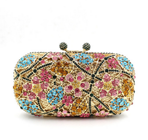 Opera - Rhinestone Crystal & Gold Evening Clutch Bag - LA MIA CARA JEWELRY - 3