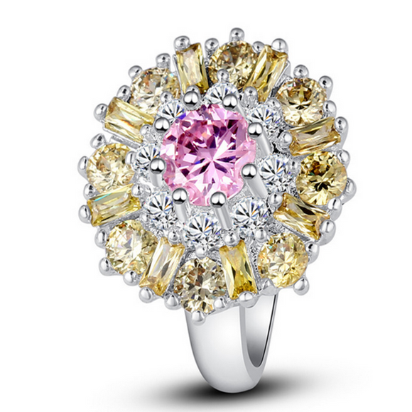 La Mia Cara Jewelry & Accessories - Ophelia - Pink Topaz & Citrine White Gold Cocktail Ring