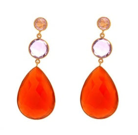 La Mia Cara Jewelry & Accessories - Adele - Gemstone -Orange Chalcedony, Pink Quartz & Peach Chalcedony Drop Earring