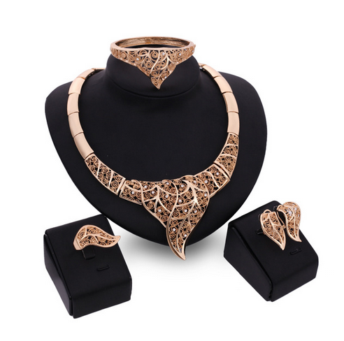 Orina - Filigree Leaf Pattern Crystal & Gold  Necklace & Bracelet & Earrings & Ring Set - LA MIA CARA JEWELRY - 1