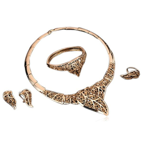 Orina - Filigree Leaf Pattern Crystal & Gold  Necklace & Bracelet & Earrings & Ring Set - LA MIA CARA JEWELRY - 2