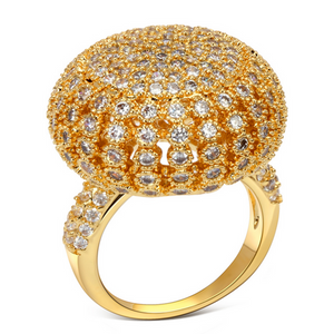 Cocktail Ring - Oro Arezzo - Basilica CZ Diamond Gold Ring -La Mia Cara Jewelry