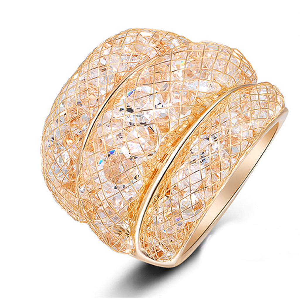 Cocktail Ring - Oro Polvere Di Stelle - Golden Stardust CZ Diamond Ring - LA MIA CARA JEWELRY
